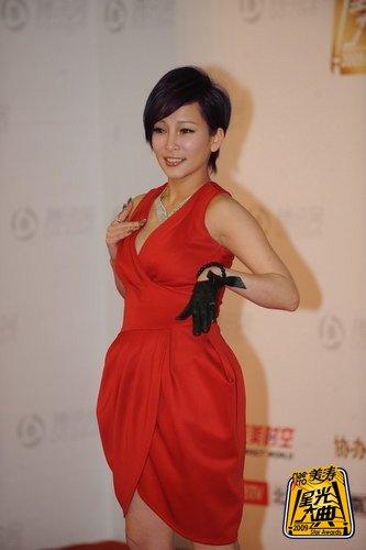 歌星温岚亮相大典红毯 火红短裙性感出席