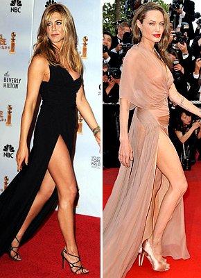 安妮斯顿金球奖上秀美腿被指模仿朱莉(图)
