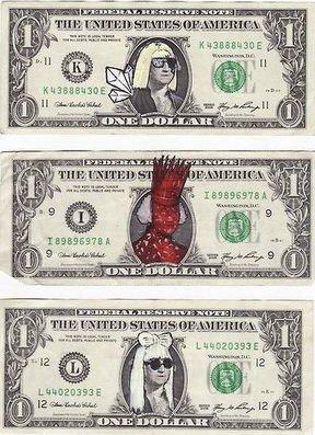 """画家""""伪造""""Lady GaGa版美元 出售价值翻15倍"""