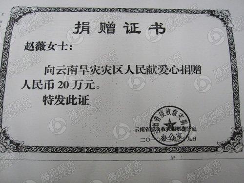 赵薇捐款凭证