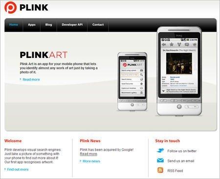 英国手机视觉搜索服务商Plink官方网站(腾讯科技配图)