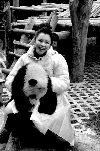 徐若瑄再次认养两只大熊猫 取名大白和小白(图)