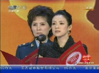 章子怡亮相晚会朗诵《在一起》 现场捐款20万元