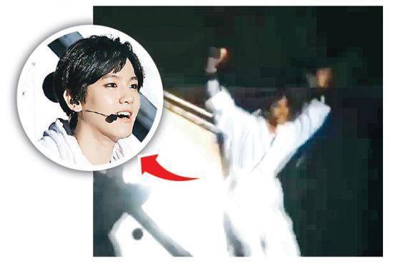 EXO演出再发生坠台事故 伯贤掉进升级机关(图)