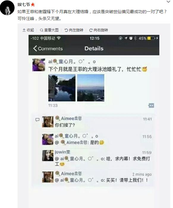 网曝王菲谢霆锋下月大理成婚 网友晒婚礼地点图
