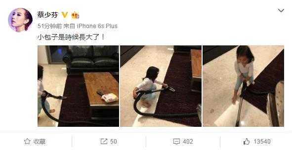 蔡少芬二女儿照片曝光 贴心懂事争做家务获赞