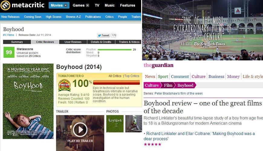 影片《少年时代》获得了媒体一边倒的称赞好评