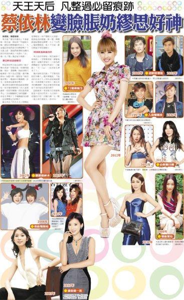 台媒细数明星整容传闻 蔡依林萧亚轩榜上有名
