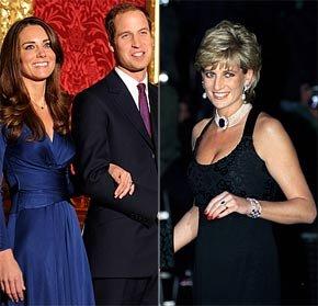 廉王子(中),凯特·米德尔顿和戴安娜王妃(资料图).-威廉王子