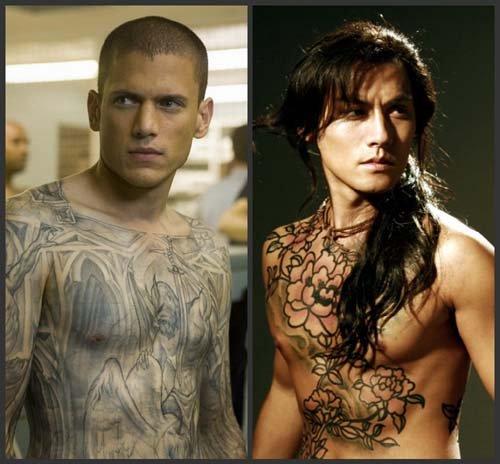 刺青比米帅一身欧式纹身