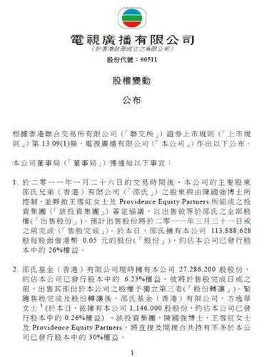 TVB发股权变动公告 邵氏股份被陈国强财团收购