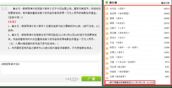 崔永元新锐导演计划 《新年》无线票房排名出炉