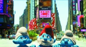 3D真人动画电影《蓝精灵》北京试映 阿兹猫抢戏