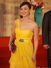 赵子琪黄色裙装醒目惹眼