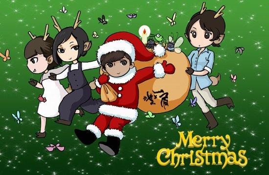 《肩上蝶》推出卡通照 陈坤桂纶镁变圣诞老人