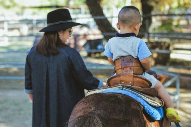 何洁带儿子骑马 产后一个月肚大如箩仍臃肿