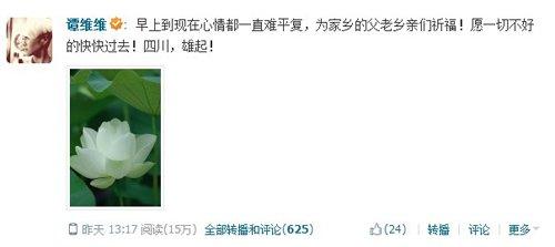 雅安地震川籍艺人在行动 谭维维捐款20万元