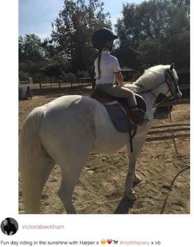 贝克汉姆女儿小七变身骑士 被赞帅气有型