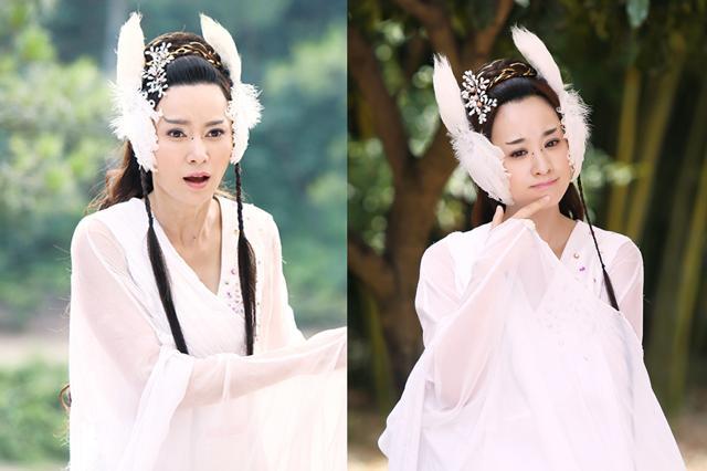 《天天有喜2》中演员唐熙饰演的九妹(左)与穆婷婷饰演的九妹(右