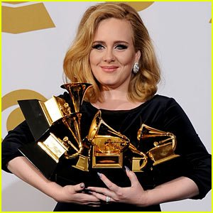 Adele全胜格莱美收视创纪录 排名历史第二位