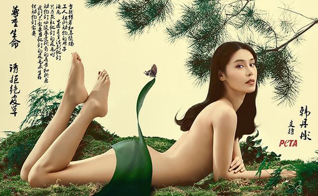 韩丹彤褪去华服为亚洲善待动物组织拍摄了一组极具东方水墨画特色的反