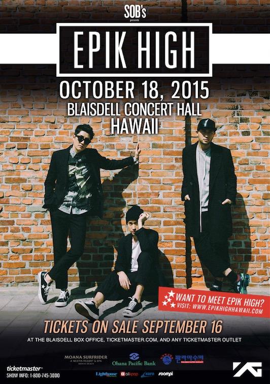 EPIK HIGH夏威夷演唱会将于10月首次单独举行