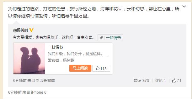 张歆艺杨树鹏确认离婚:我们相爱,我们分开