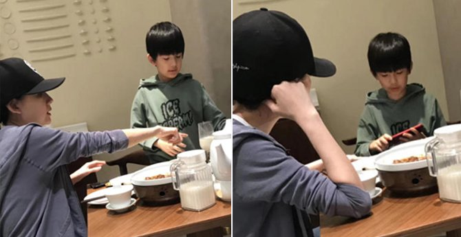网友偶遇董洁带儿子吃晚餐,9岁顶顶像极了潘粤明