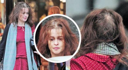 49岁海伦娜现身伦敦 头发凌乱遇秃顶危机