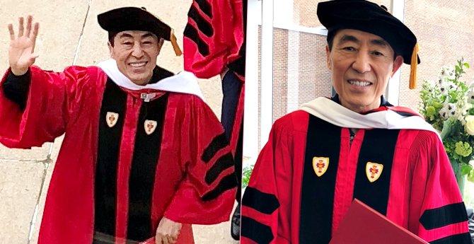 张艺谋荣获波士顿大学博士学位 陈婷凌晨发文祝贺