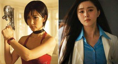 左:李冰冰在《生化危机5》;右:范冰冰在《钢铁侠3》