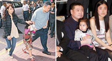 刘銮雄与两名女友吕丽君(左)、甘比(右)