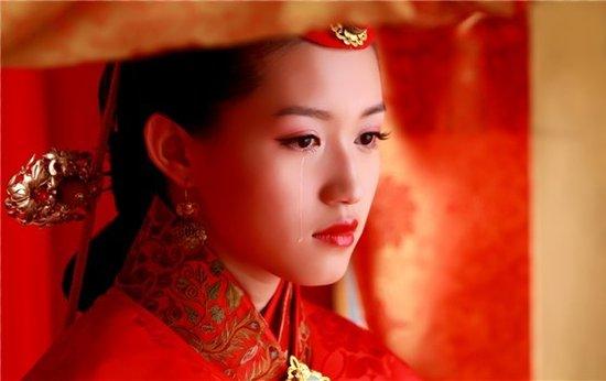 古代红装美女手绘图