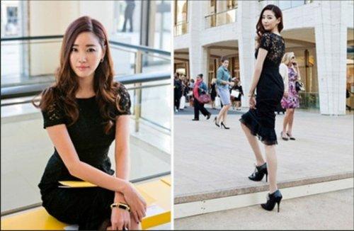 黑色蕾丝裙显优雅