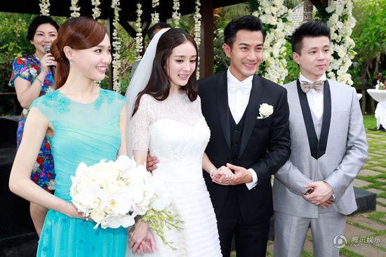 唐嫣接受杨幂的新娘捧花 腾讯微博再送祝福