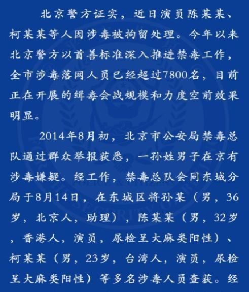 北京警方证实房祖名柯震东涉毒 现场供认不讳