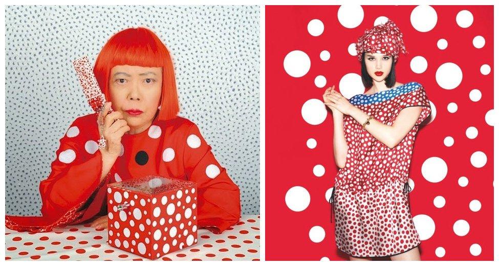 左图为草间弥生;右图为Yayoi Kusama for Louis Vuitton系列
