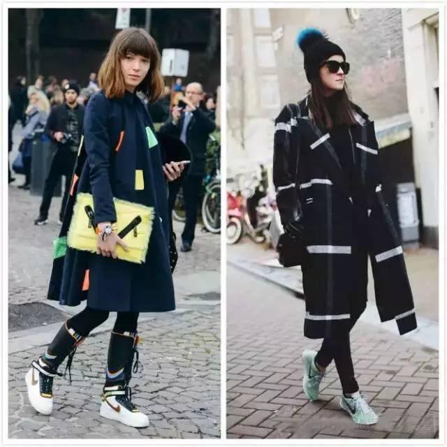 街拍 潮人必备的印花大衣在于运动鞋的搭配上也不俗,宽松的裁剪大方图片