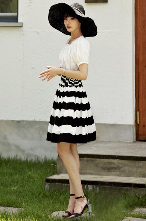 视觉差 穿x型连衣裙都变瘦子图片