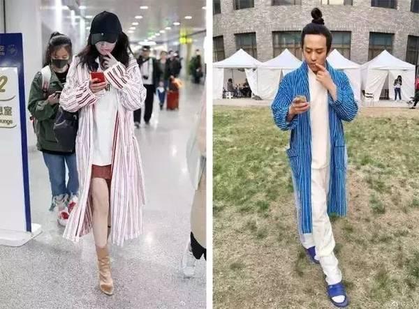 唐艺昕撞衫蔡依林秀智2个月前的病号服 竖条纹才是流行担当
