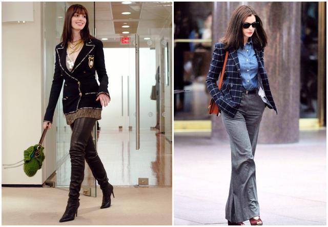 海瑟薇(左)《穿PRADA的女魔头》时扮初入职场的实习生,时隔图片