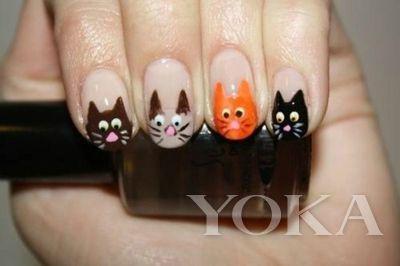 猫咪猫猫主题美甲图案图片 猫咪手绘美甲图集