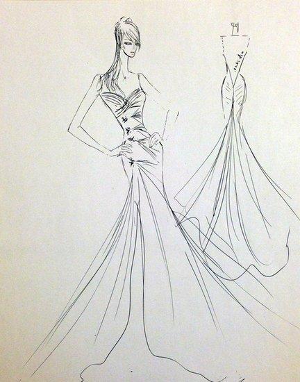 礼服设计手稿素描图_礼服设计手稿素描图高清图片 婚纱设计图手稿怎图片
