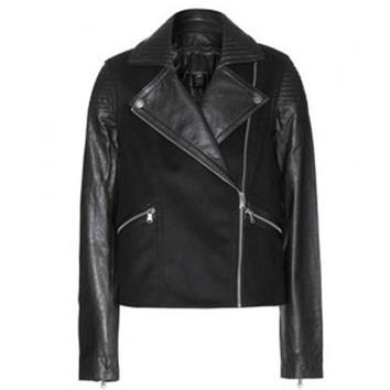 黑皮上衣-Jacobs 黑色皮衣,价格6165元-你的皮衣怎么穿 5种搭配魅力加分