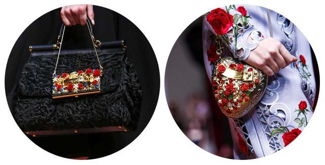 玫瑰装饰金属小包