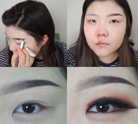 韩国女生化妆秀实力 看小眼胖妹如何变女神