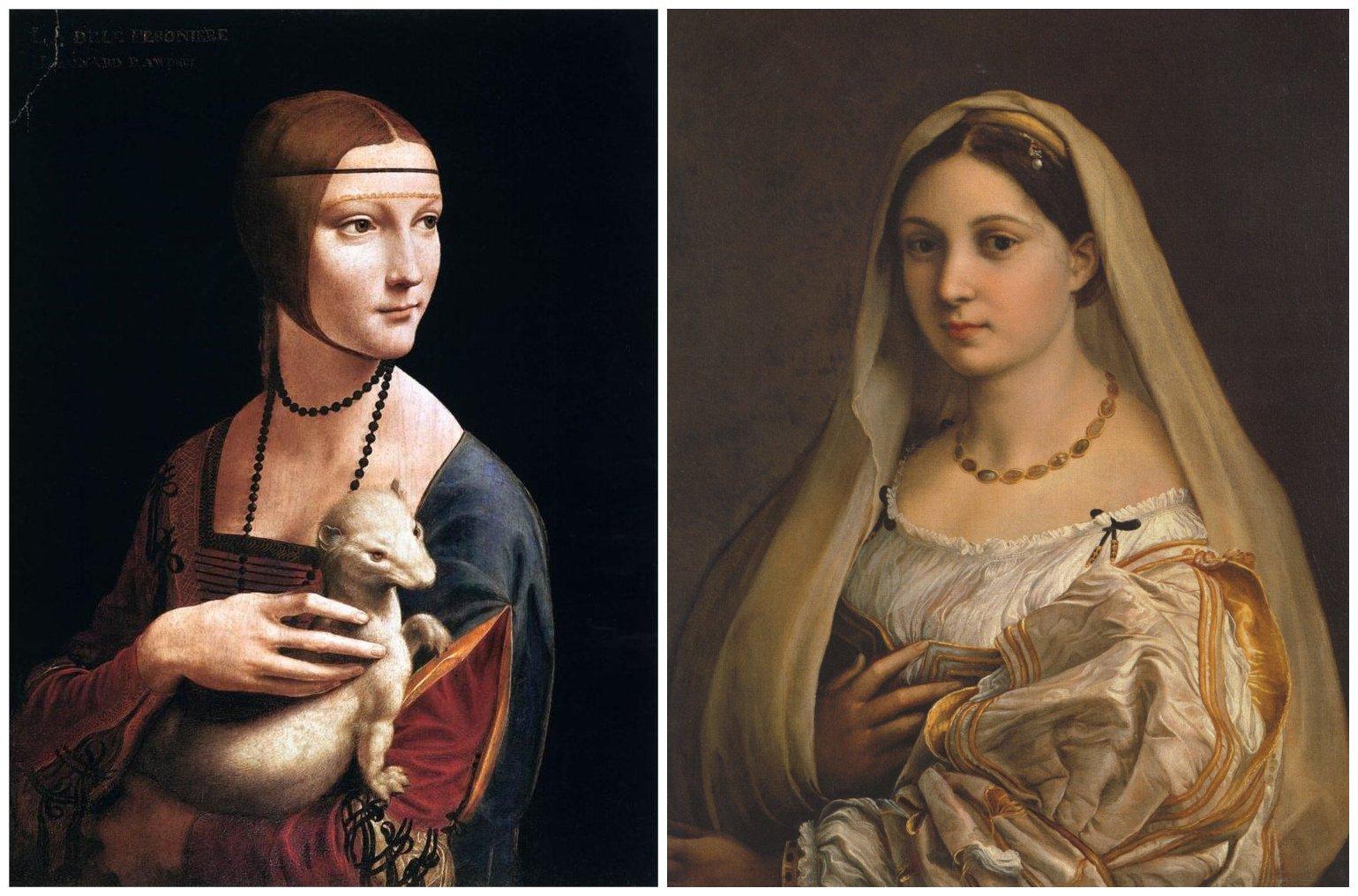 左:列奥纳多・达・芬奇作品《抱银貂的女子》;右:拉斐尔作品《La velata》