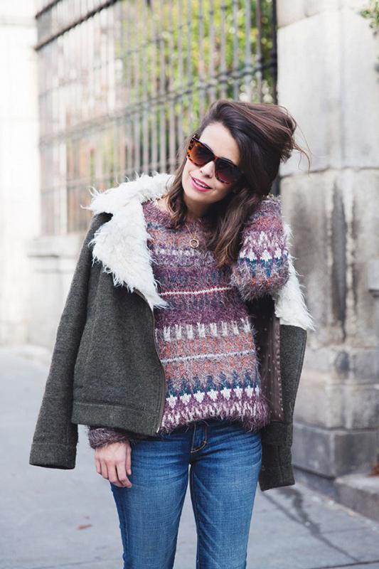 毛衣街拍-今秋穿件慵懒大毛衣 让你看着暖暖哒图片