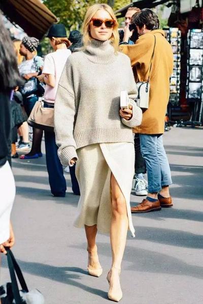大毛衣怎么穿才时髦?四字口诀:头重脚轻!