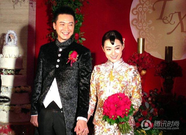 刘璇中式礼服获赞 明星婚礼中国风盛行
